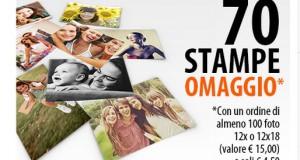 70 stampe omaggio su 100 con PhotoSì