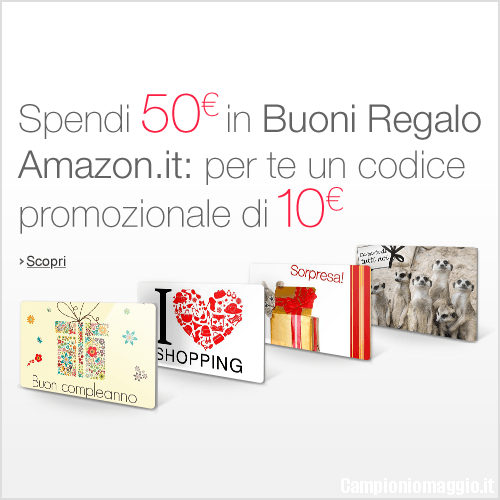 Spendi 50 euro in buoni regalo amazon ne ottieni 10 in for Codici regalo amazon