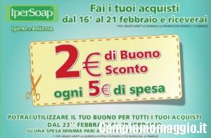 IperSoap: 2€ di buono sconto ogni 5€ di spesa