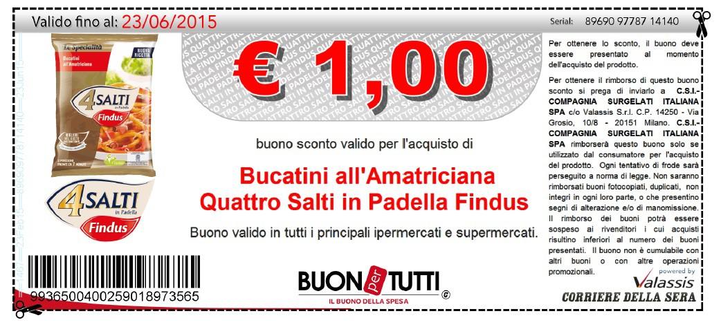 Buoni sconto 4 salti in padella findus for Cucinare 4 salti in padella