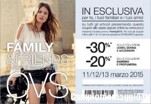 OVS: coupon sconto Family&Friends 11-12-13 marzo