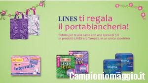 Portabiancheria omaggio con Lines e Tampax + coupon festa del Papà