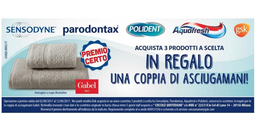 Asciugamani gabel omaggio con sensodyne paradontax - Asciugamani bagno firmati ...